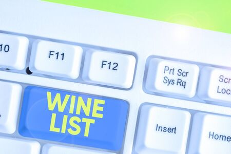 Conceptual hand writing showing Wine List. Concept meaning menu of wine selections for purchase typically in a restaurant