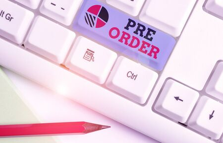 Text sign showing Pre Order. Business photo showcasing an order for a product placed before it is available for purchase