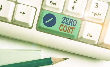 Writing note showing Zero Cost. Business concept for business decision that does not entail any expense to execute