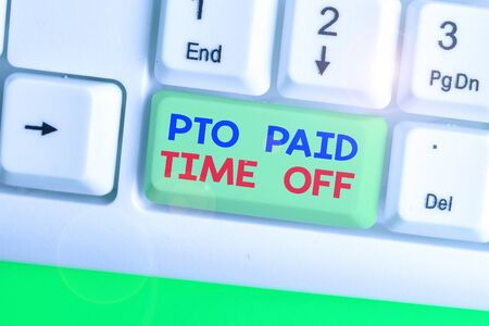 Text sign showing Pto Paid Time Off. Business photo showcasing Employer grants compensation for demonstratingal holidays Stockfoto