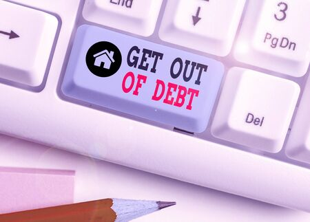 Word writing text Get Out Of Debt. Business photo showcasing No prospect of being paid any more and free from debt 스톡 콘텐츠