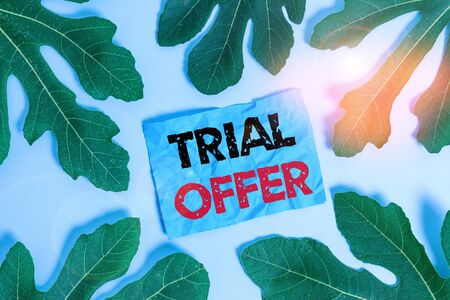Conceptual hand writing showing Trial Offer. Concept meaning A temporary free or discounted offer of a product or services Leaves surrounding notepaper above empty soft pastel table