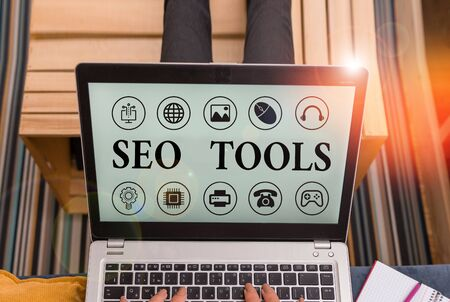 Word writing text Seo Tools. Business photo showcasing process of affecting online visibility of website or page