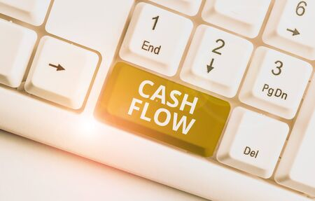 Writing note showing Cash Flow. Business concept for Movement of the money in and out affecting the liquidity White pc keyboard with note paper above the white background