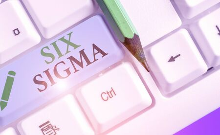 Text sign showing Six Sigma. Business photo showcasing set of analysisagement techniques intended to improve business process