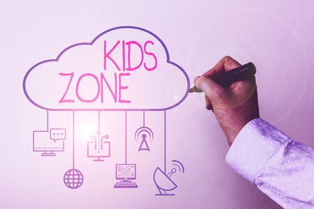 Handwriting text Kids Zone. Conceptual photo An area or a region designed to enable children to play and enjoy