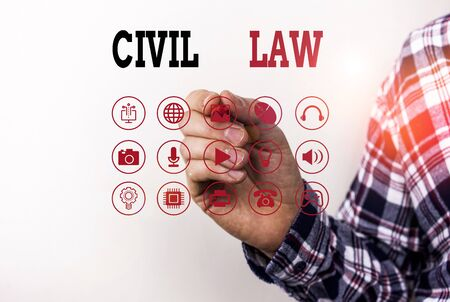 Conceptual hand writing showing Civil Law. Concept meaning Law concerned with private relations between members of community