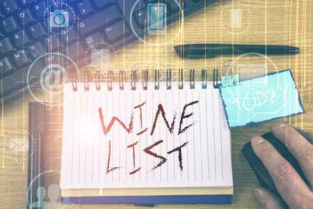 Handwriting text Wine List. Conceptual photo menu of wine selections for purchase typically in a restaurant