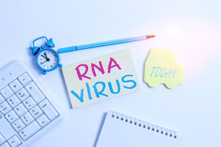 Word writing text Rna Virus. Business photo showcasing a virus genetic information is stored in the form of RNA Copy space on empty note paper with clock and pencil on the table