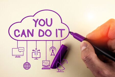 Writing note showing You Can Do It. Business concept for Bring it On Believing to oneself Give a try Take the chance Stock fotó