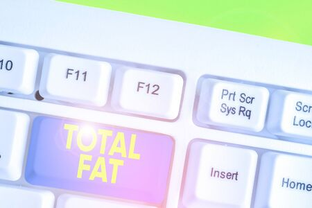 Conceptual hand writing showing Total Fat. Concept meaning combined value of the different types of fat shown at the label