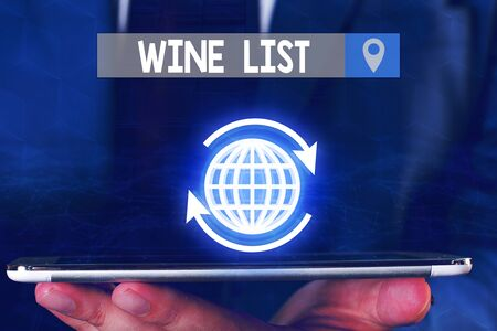 Text sign showing Wine List. Business photo showcasing menu of wine selections for purchase typically in a restaurant Zdjęcie Seryjne - 134162782