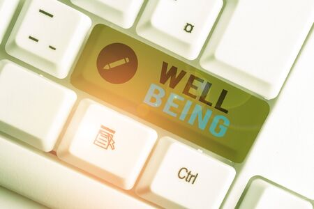 Conceptual hand writing showing Well Being. Concept meaning A good or satisfactory condition of existence including health White pc keyboard with note paper above the white background