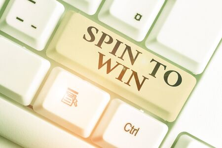 Handwriting text Spin To Win. Conceptual photo Try your luck Fortune Casino Gambling Lottery Games Risk