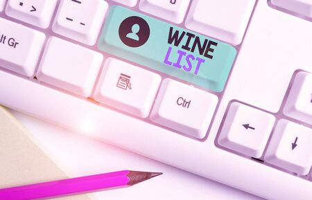 Writing note showing Wine List. Business concept for menu of wine selections for purchase typically in a restaurant Zdjęcie Seryjne
