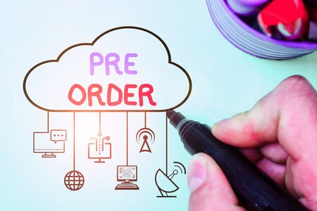 Handwriting text writing Pre Order. Conceptual photo an order for a product placed before it is available for purchase Reklamní fotografie