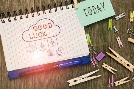 Text sign showing Good Luck. Business photo text wish positive fortune or happy outcome that a demonstrating can have