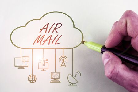 Conceptual hand writing showing Air Mail. Concept meaning the bags of letters and packages that are transported by aircraft