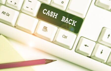 Writing note showing Cash Back. Business concept for denoting a form of incentive offered to buyers of certain products White pc keyboard with note paper above the white background