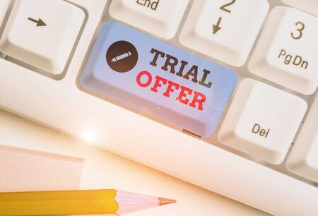 Text sign showing Trial Offer. Business photo showcasing A temporary free or discounted offer of a product or services
