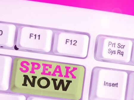 Text sign showing Speak Now. Business photo text Communicate to us your feelings and information Voice out