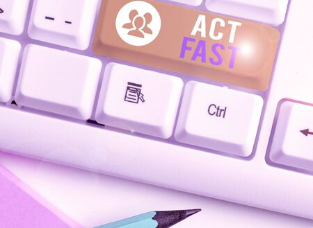 Writing note showing Act Fast. Business concept for Voluntarily move in the highest state of speed initiatively