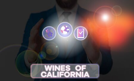 Word writing text Wines Of California. Business photo showcasing Best Winemakers in the USA Export Quality Beverage Zdjęcie Seryjne - 134166279