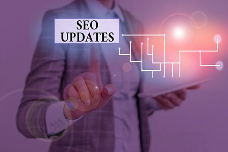 Text sign showing Seo Updates. Business photo showcasing new information or design in search engine optimization