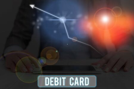 Conceptual hand writing showing Debit Card. Concept meaning card that deducts money directly from a demonstrating s is checking account Stock fotó