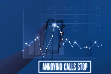 Conceptual hand writing showing Annoying Calls Stop. Concept meaning Prevent spam phones Blacklisting numbers Angry caller