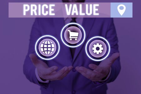 Handwriting text writing Price Value. Conceptual photo the price of a product based on what customers think or valued
