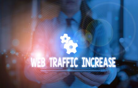 Word writing text Web Traffic Increase. Business photo showcasing Expand Visitors to a Website a number of Visits