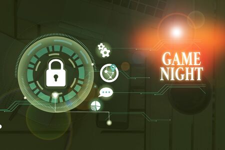 Conceptual hand writing showing Game Night. Concept meaning event in which folks get together for the purpose of getting laid Banco de Imagens