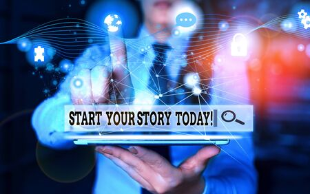 Conceptual hand writing showing Start Your Story Today. Concept meaning work hard on yourself and begin from this moment Picture photo network scheme with modern smart device