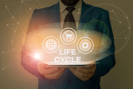 Text sign showing Life Cycle. Business photo showcasing the series of changes in the life of an organism and animals