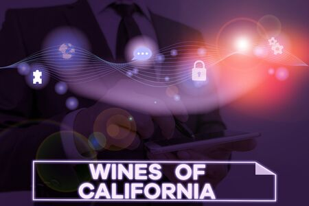 Conceptual hand writing showing Wines Of California. Concept meaning Best Winemakers in the USA Export Quality Beverage