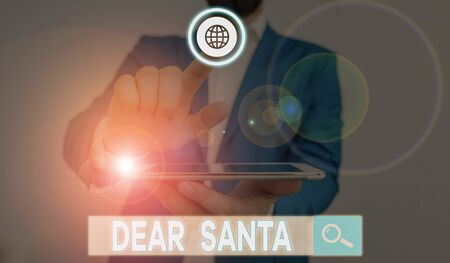 Word writing text Dear Santa. Business photo showcasing letter intended for Santa Claus written by kids during Christmas Stock Photo