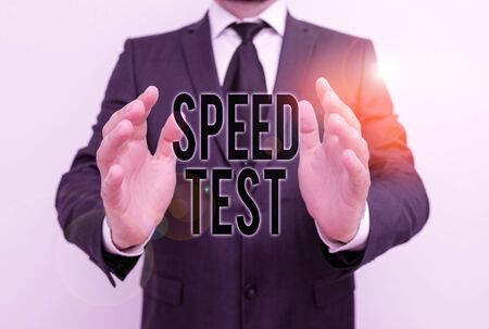 Writing note showing Speed Test. Business concept for psychological test for the maximum speed of performing a task Male human with beard wear formal working suit clothes hand
