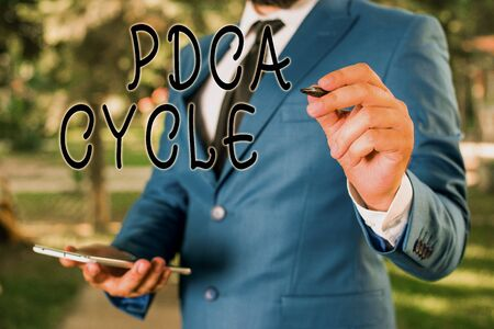 Conceptual hand writing showing Pdca Cycle. Concept meaning use to control and continue improve the processes and products Businessman holds laptop and pen pointing into the copy space