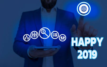 Writing note showing Happy 2019. Business concept for feeling showing or causing pleasure or satisfaction for 2019