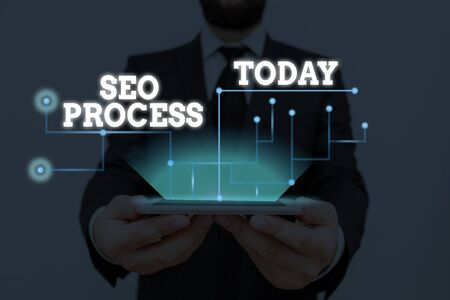 Conceptual hand writing showing Seo Process. Concept meaning steps of increasing the quality and quantity of website traffic
