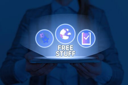 Text sign showing Free Stuff. Business photo text something that is given to you without you having to pay for it Zdjęcie Seryjne - 134171567