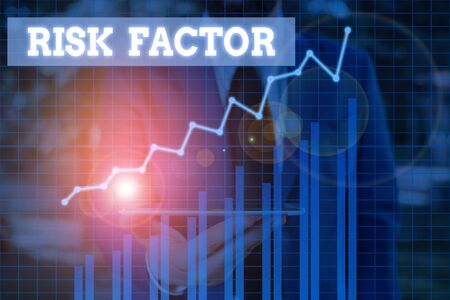 Word writing text Risk Factor. Business photo showcasing a condition behavior or other factor that increases danger Stock Photo