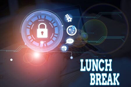 Conceptual hand writing showing Lunch Break. Concept meaning time when a demonstrating stops working or studying to have lunch