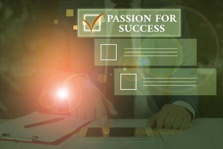 Conceptual hand writing showing Passion For Success. Concept meaning Enthusiasm Zeal Drive Motivation Spirit Ethics Banco de Imagens