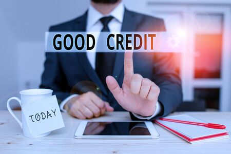 Text sign showing Good Credit. Business photo text borrower has a relatively high credit score and safe credit risk Male human wear formal clothes present presentation use hi tech smartphone 版權商用圖片
