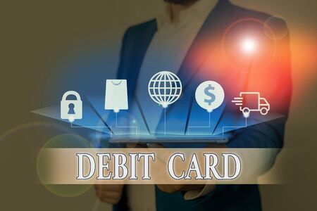 Text sign showing Debit Card. Business photo showcasing card that deducts money directly from a demonstrating s is checking account Foto de archivo