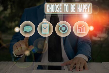 Text sign showing Choose To Be Happy. Business photo showcasing Decide being in a good mood smiley cheerful glad enjoy Stockfoto