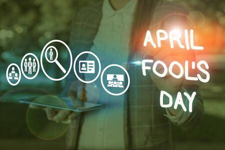 Conceptual hand writing showing April Fool S Day. Concept meaning Practical jokes humor pranks Celebration funny foolish Reklamní fotografie