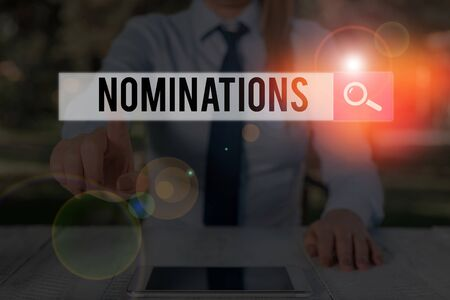 Writing note showing Nominations. Business concept for the act of officially suggesting someone for a job or position